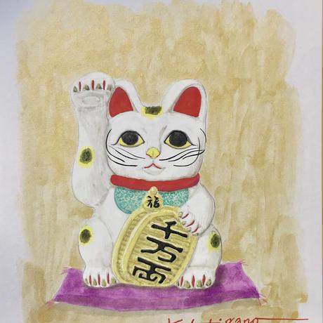「招き猫」色紙にテンペラ画
