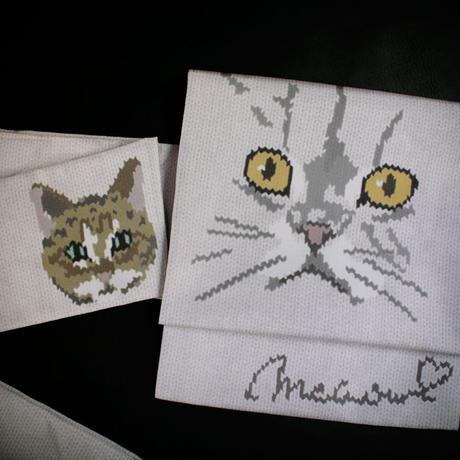 インクジェット捺染名古屋帯 I love cat【送料無料】