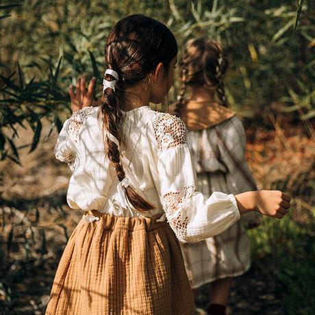liilu / Folk Sofia Blouse - Milk  6Y