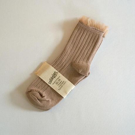 Collégien / Tulle-trim Socks - Taupe