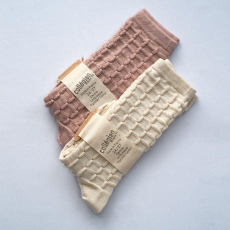 Collégien / Camille  Textured Checked-knit Knee-high Socks - Cream