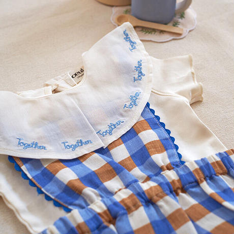 oeuf / Embroidered Ruffle Collar Onesie - Sky Blue