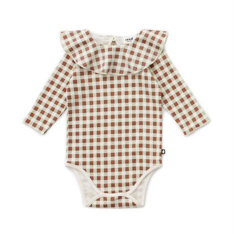 oeuf / ruffle collar onesie-warm sage gingham