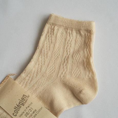 Collégien / Antoinette Lightweight Pointelle Summer Socks - Cream