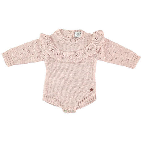 tocoto vintage /  Knitted baby onepiece with openwork details on sleeve and front flounce - PINK