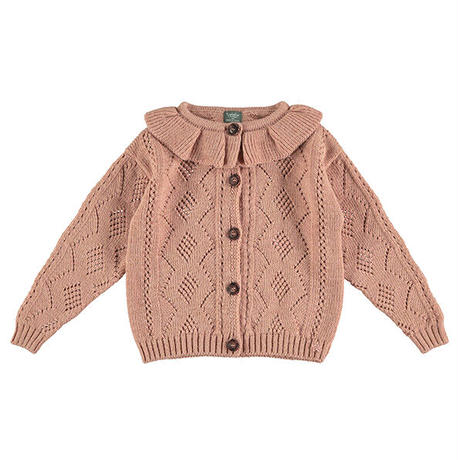 tocoto vintage / Knitted open-work cardigan with flounced neck - PINK