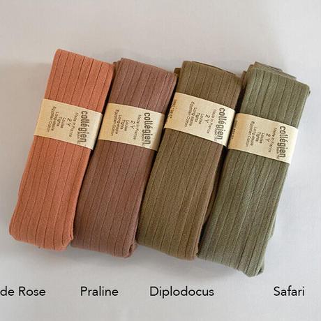 Collégien / Ribbed tights - Bois de Rose