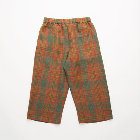 Nellie Quats / Chess Trousers - Redwood Tartan Linen 5-6Y / 7-8Y