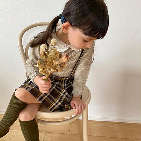 tocoto vintage / Open-work ribbed knit sweater with embroidery details on collar - BEIGE