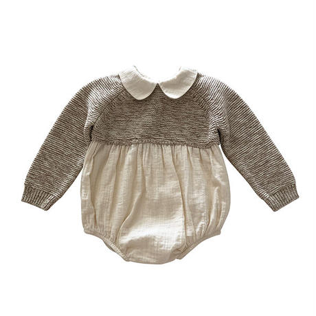 liilu / Knitted Combi Romper - Knit:Natural + Chocolate + Fabric:Natural