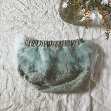 tocoto vintage / TERRY FABRIC DIAPER COVER + TULLE RUFFLES - GREEN