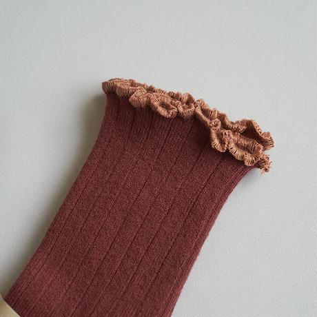 Collégien / Lettuce Trim Ribbed Socks - Chestnut