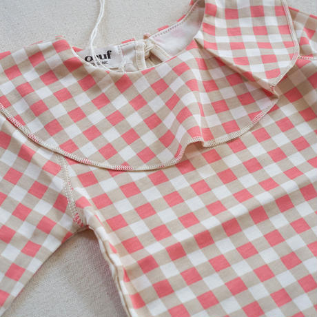 oeuf / ruffle collar onesie-warm red gingham