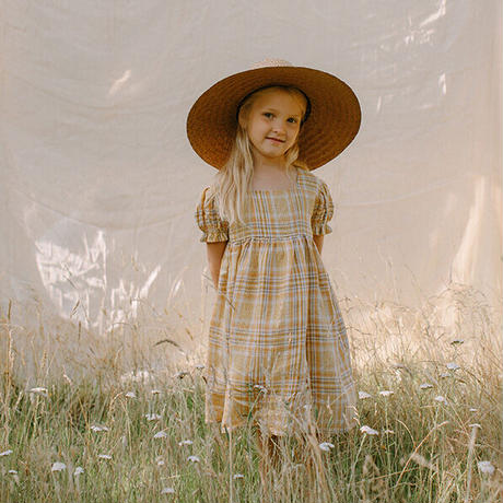 Nellie Quats / Marbles Dress - Hay Plaid Linen