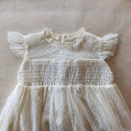 tocoto vintage / Tulle dress with transparencies upper chest