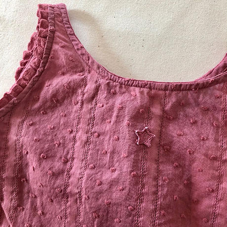 tocoto vintage / Sleveless plumeti blouse with lace trim - PINK