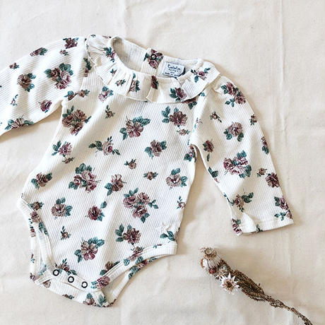 tocoto vintage /   Flower print ribbed body 100% organic cotton