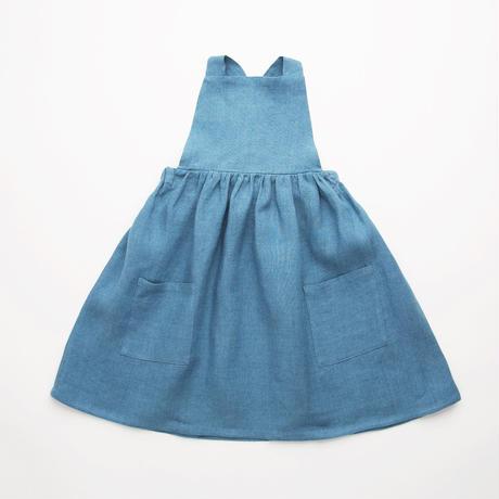 Nellie Quats / Conkers Pinafore - Cornflower Blue Linen 5-6Y / 7-8Y