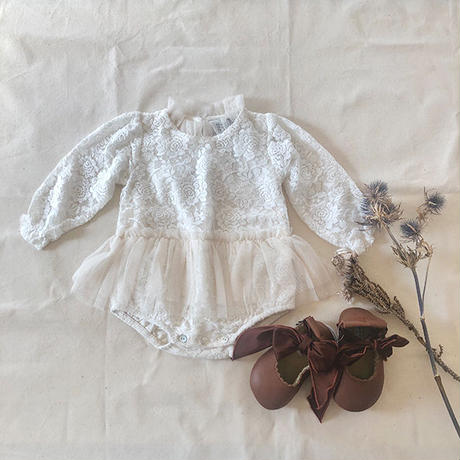 tocoto vintage /  Vintage lace body with tulle skirt - OFF WHITE