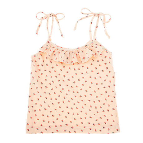 tocoto vintage / Strawberry print bow shoulders tank top - SALMON