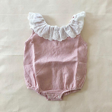 tocoto vintage / Striped body with swiss embroidery frill - PINK
