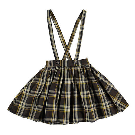 tocoto vintage / Tartan plaid skirt with braces - DARK BROWN