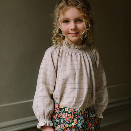 Nellie Quats / Mother May I Blouse - Oat & Cornflower Windowpane Check Linen 18-24M / 3-4Y