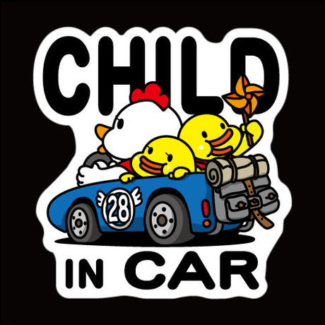 にわとりかあさん(青) CHILD IN CAR 反射マグネットシート 135mm×142mm