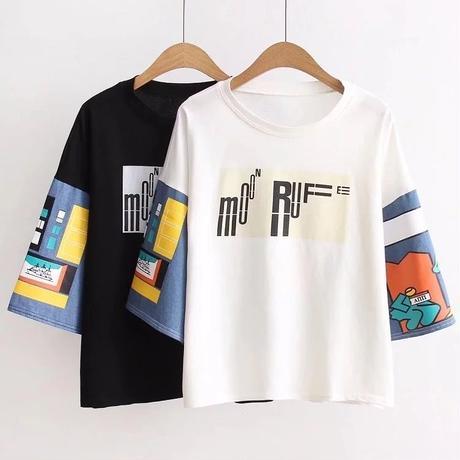 韓国ファッション通学百搭プリントTシャツ