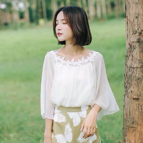 シック木の葉ネック韓国スタイルレデイーストップス