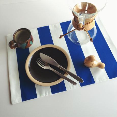 <北欧柄> ランチョンマット/リバーシブル/ブルー ×   グリーン