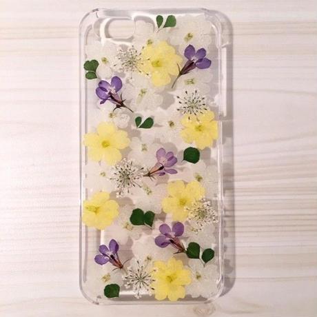 【受注製作64】iphone5/5sケース 本物のお花使用 スマホ