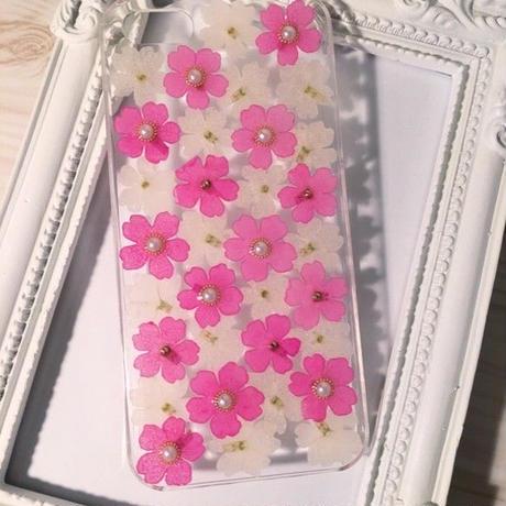 【受注製作76】iphone5/5sケース 本物のお花使用 スマホ