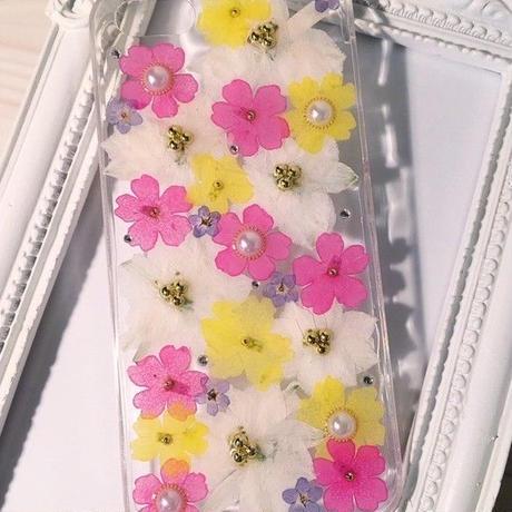 【受注製作78】iphone5/5sケース 本物のお花使用 スマホ