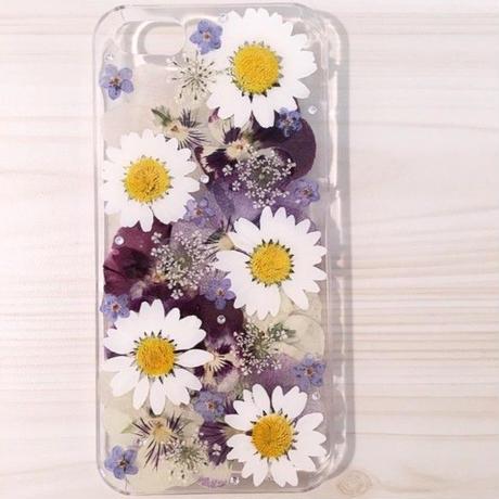 【受注製作66】iphone5/5sケース 本物のお花使用 スマホ