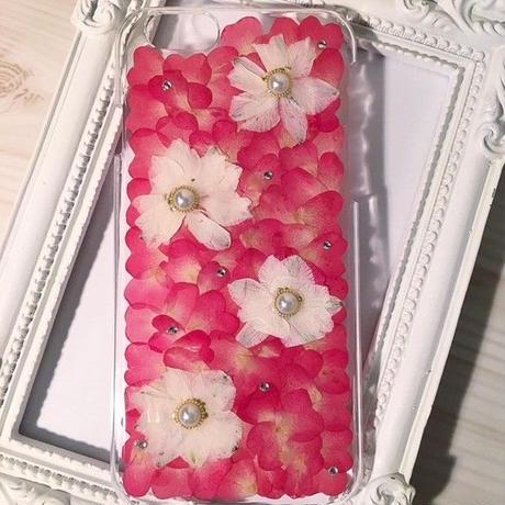 【受注製作75】iphone5/5sケース 本物のお花使用 スマホ