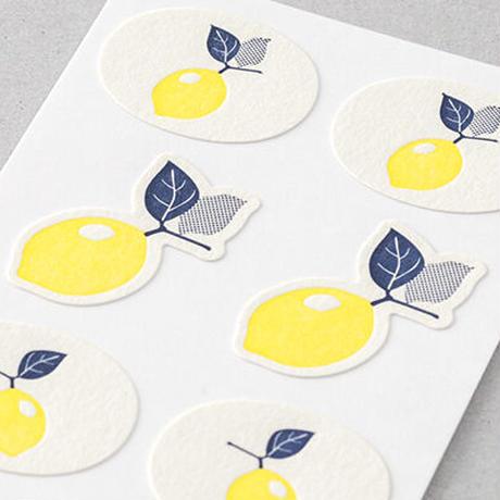 活版印刷のシールレモン柄 midori
