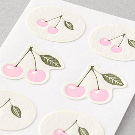 活版印刷のシールさくらんぼ柄 midori