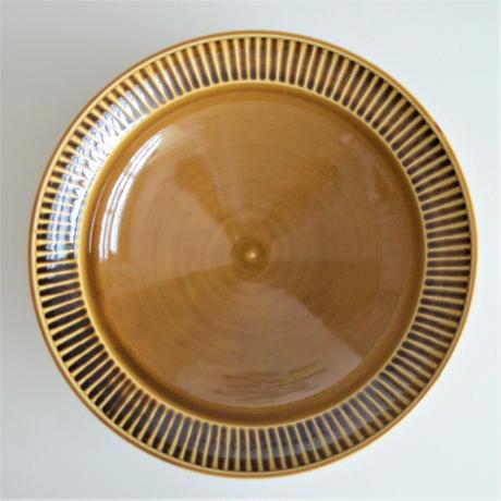 阿部春弥 黄磁しのぎ 7.5寸リム鉢