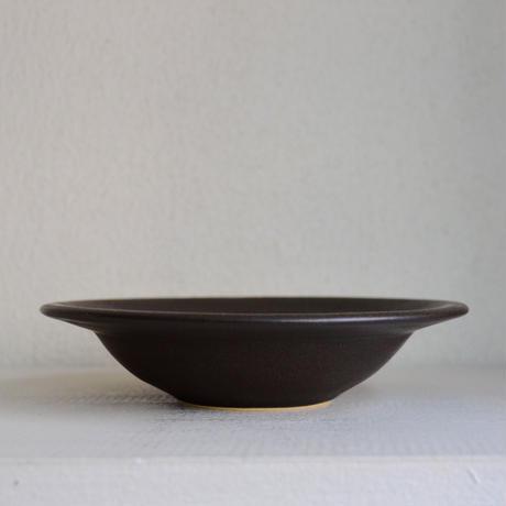 Awabi ware リムスープ皿 黒マット