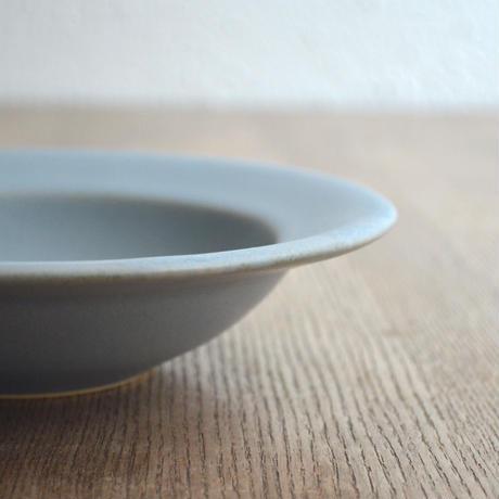 Awabi ware リムスープ皿 青マット