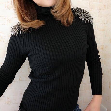 フリンジturtle knit
