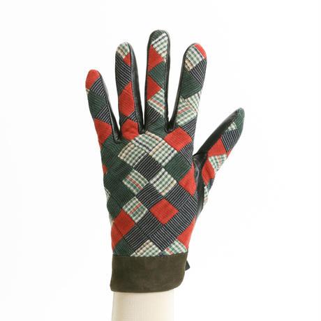 保多織をうまげによっけ繋いだ手袋(婦人用)カーキ