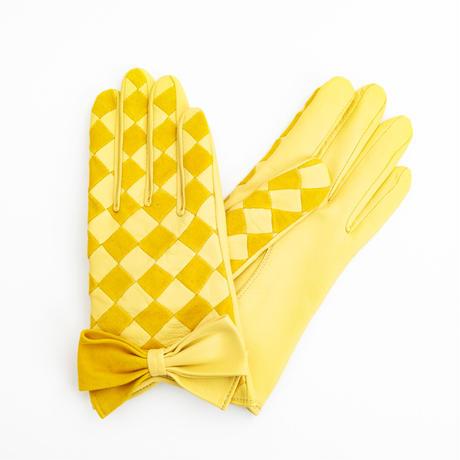 1/25DS革繋ぎ手袋(婦人用)イエロー