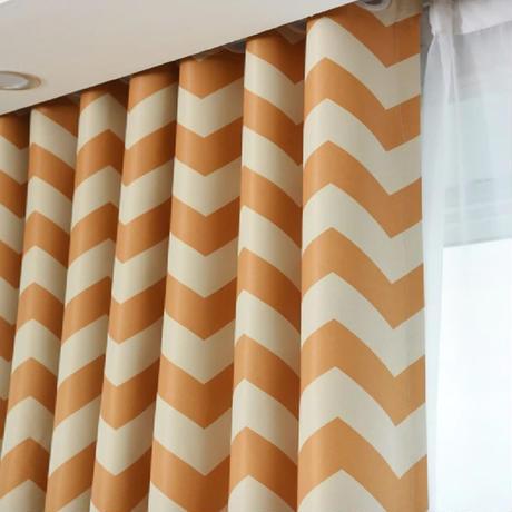 ☆ドレープカーテン☆ ジグザグストライプ オレンジ W100cmxH250cm 高さ調節可能 フックタイプ 2枚セット ホテル m05708