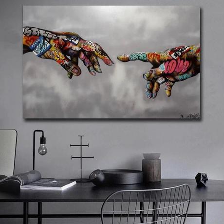 【お洒落な壁掛けアートパネル】 枠付き 40×60cm 落書き 手 芸術 ロゴ 絵画 部屋 インテリア m06338