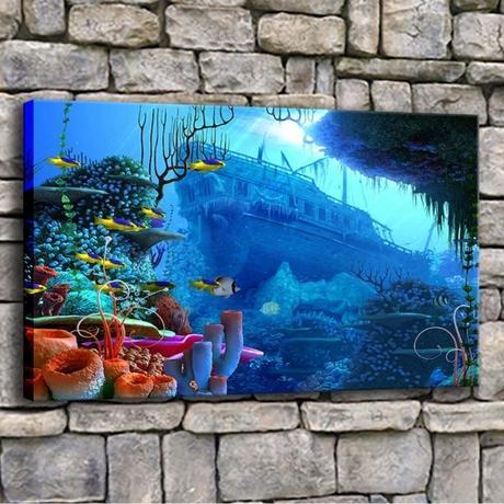 【お洒落な壁掛けアートパネル】 枠付き 40×60cm 海 珊瑚 沈没船 ブルー 絵画 部屋 インテリア m06331