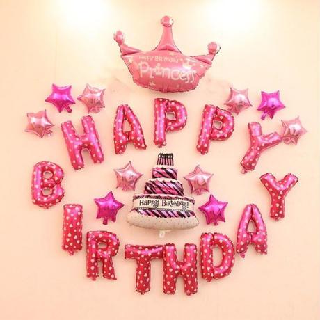 """ロゴ風船 """"HAPPY BIRTHDAY"""" お誕生日おめでとう  飾り デコ  誕生日 イベント パーティ  ふうせん バルーン ヘリウム   m01227"""