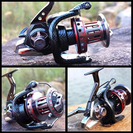 新品 スピニングリール 釣り道具 フィッシング トローリング 11BB 黒×赤 10000 m02019