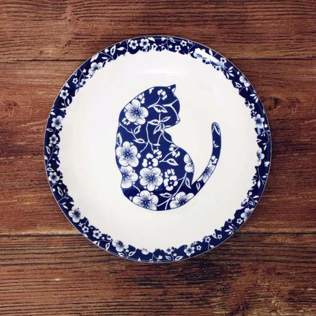 新品送料込 皿 セラミック 食器 青×白 インディゴブルー 猫×花 フランス カントリースタイル 高級 00818